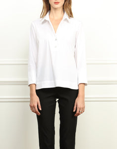 Hinson Wu Aileen White Button Back Top