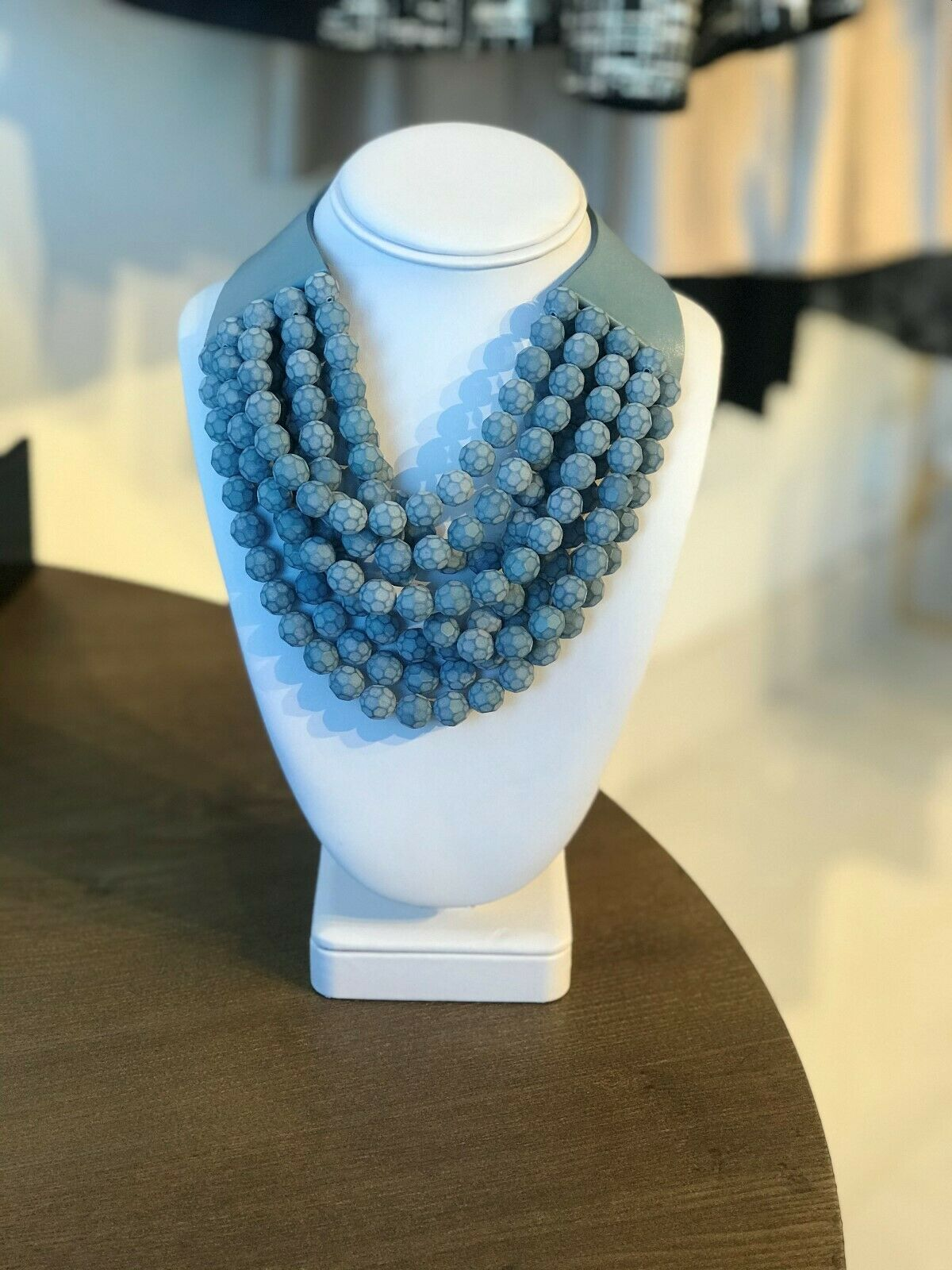 Fairchild Baldwin Matte Blue Beaded Multi-strand Magnetic Necklace
