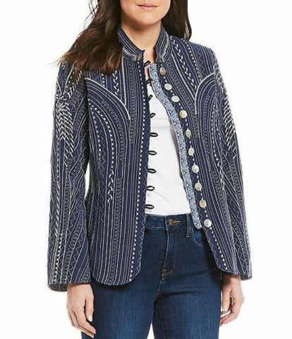 John Mark Mandarin Collar Embroidered Scallop Hem Jacket