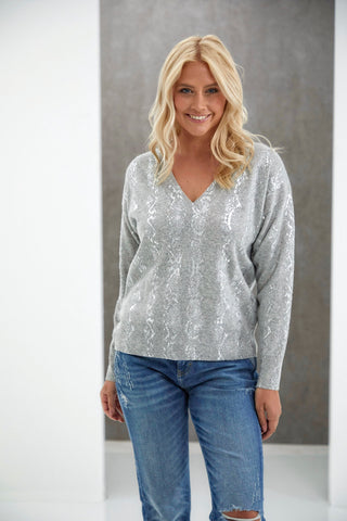 Metallic V Neck Cashmere Sweater