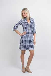 Katherine Way Coco Dress Plaid Dots Navy