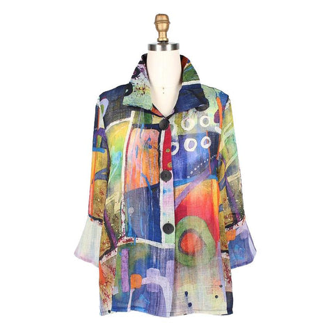 Damee Watercolor Abstract Button Front Jacket in Multi