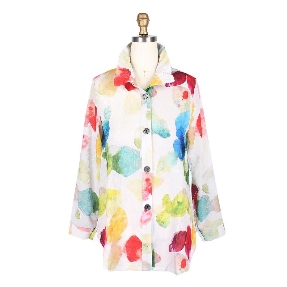 Damee Watercolor Gemstone Shirt in Multi/White