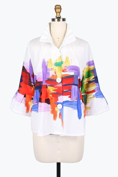 Damee Oil Painting Jacket-White Multicolor