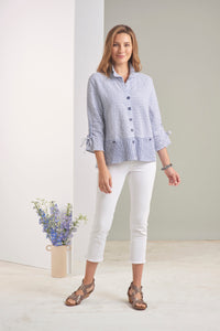 Habitat Bahama Stripe Ruched Collar Jacket in Niagara