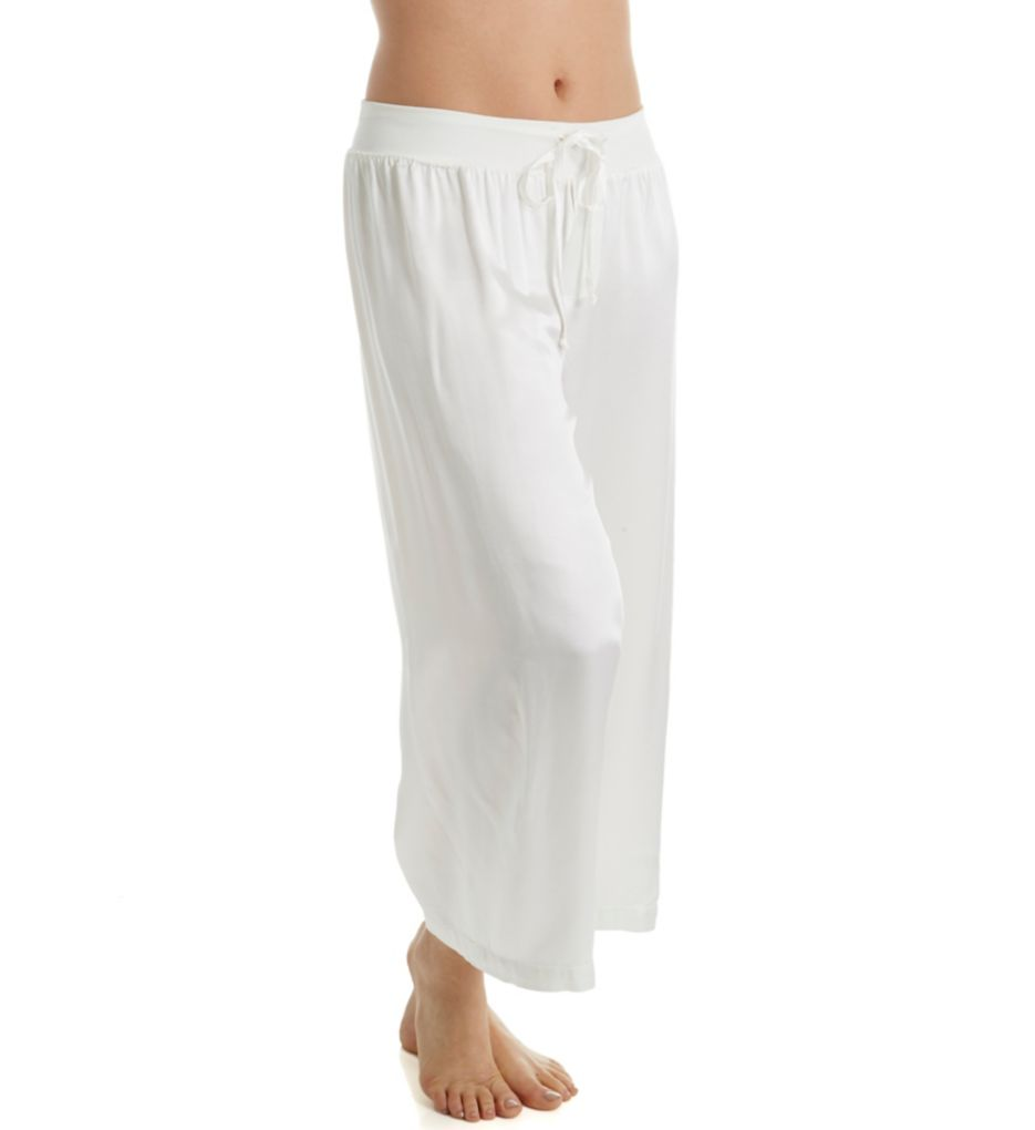 Jolie Satin Ankle Pant With Rib Waistband And Adjustable Drawstring in Pearl