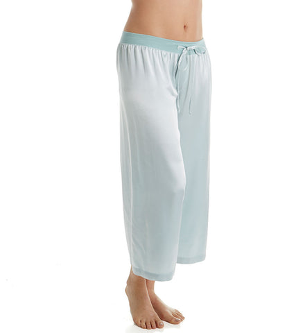 Jolie Satin Ankle Pant With Rib Waistband And Adjustable Drawstring in Aqua