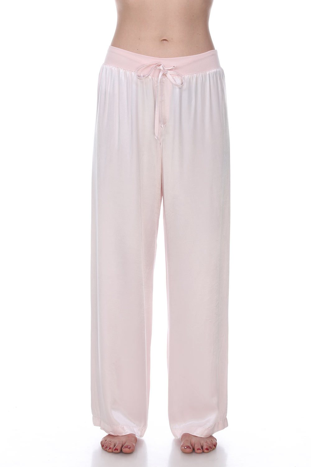 PJ Satin Pant With Rib Waistband And Adjustable Drawstring in Pink