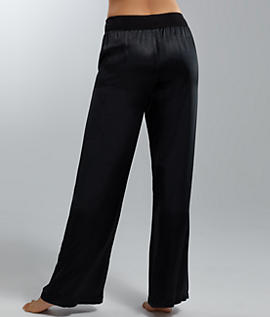 PJ Satin Pant With Rib Waistband And Adjustable Drawstring in Navy