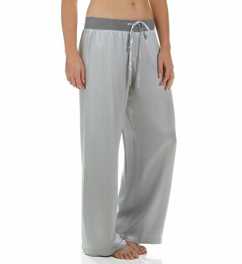 PJ Satin Pant With Rib Waistband And Adjustable Drawstring in Silver