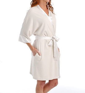 Shala Rib Knit Camono Robe With Satin Belt And Trim