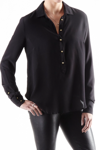 Cortland Park Navy Washable Silk Top