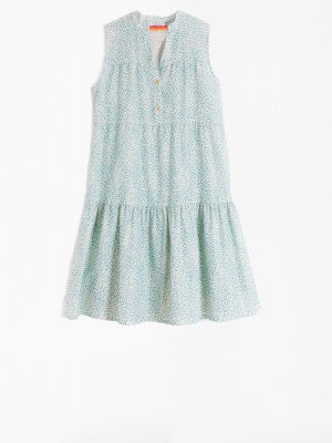 Tiered Leapord Aqua Dress