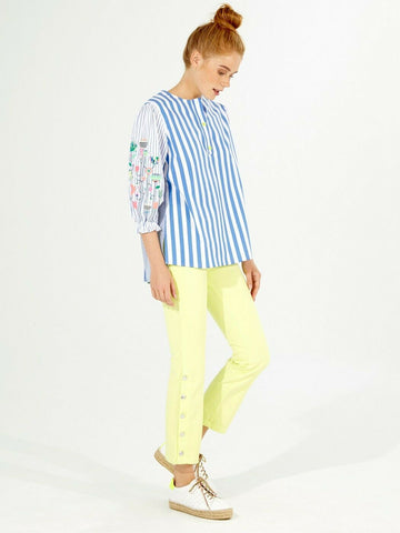 Vilagallo Striped Neon Embroidered Balloon Sleeve Top