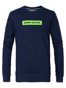 Denim driven sweater Petrol