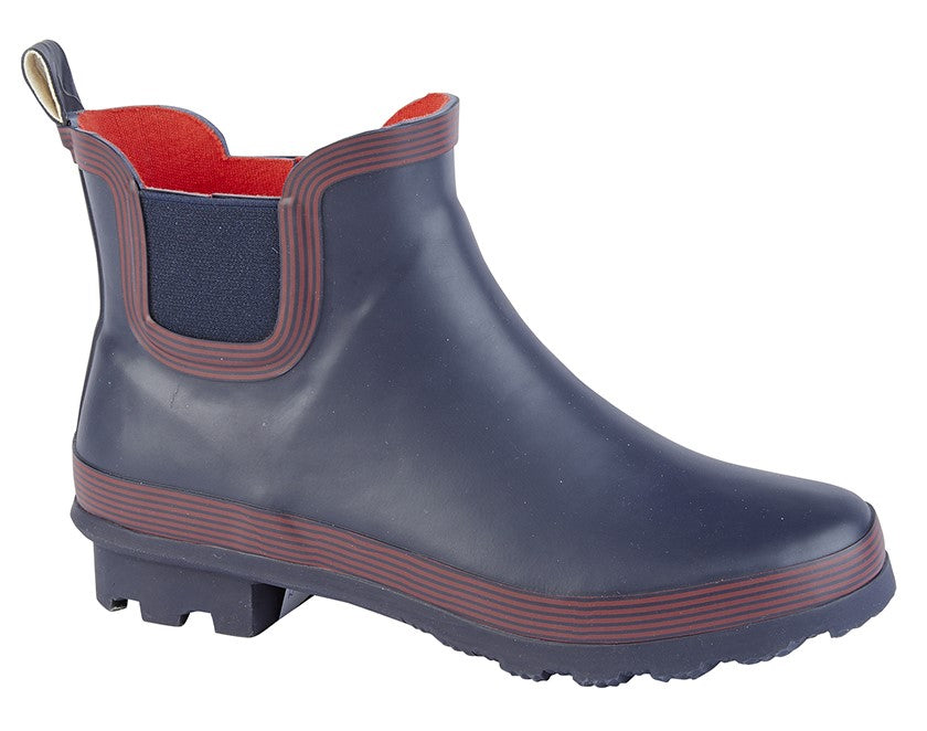 Chelsea Style Wellie Boot Navy/Red