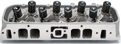 Edelbrock Performer 454-O oval port head has a small rectangular port that fits within the stock oval port window, and is compatible with traditional oval port intake manifolds. Performer heads retain the exhaust crossover passage in the center of the intake flange for emissions compliance. (Photo Courtesy Edelbrock)