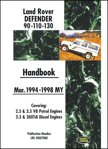 Image of Land Rover Defender 90-110-130 Owner's Handbook 1994-1998