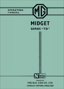MG Midget Series TD Operation Manual Handbook