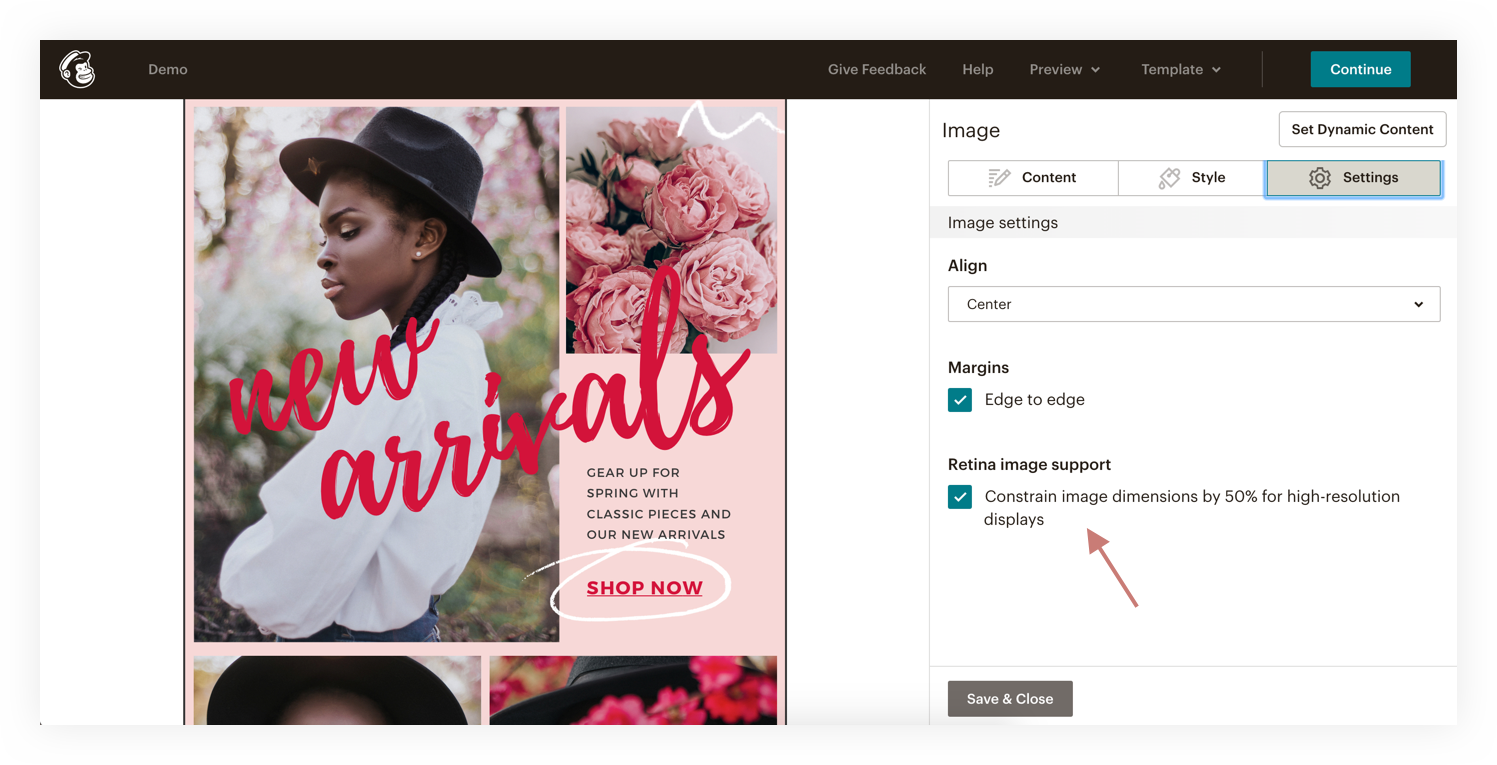 image settings in mailchimp