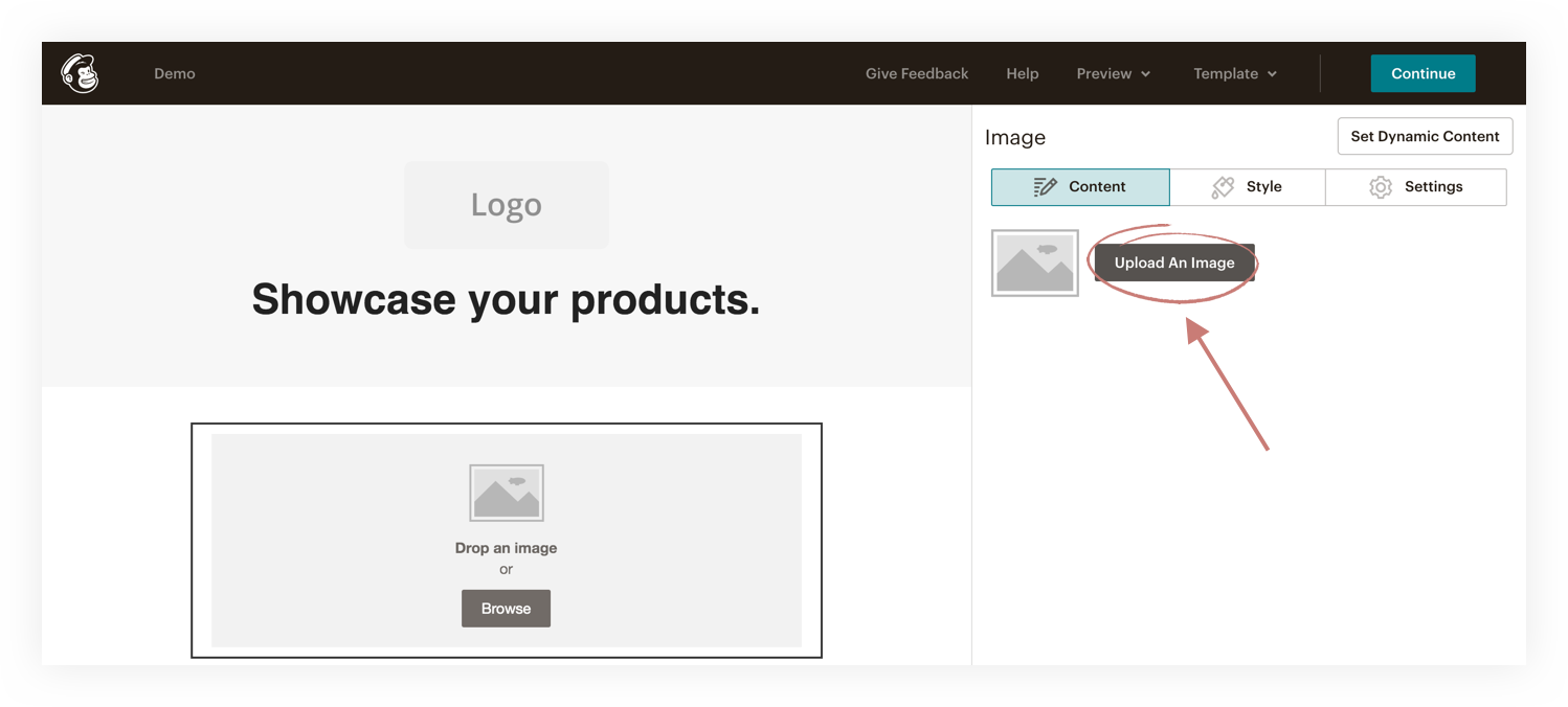 upload an image into mailchimp