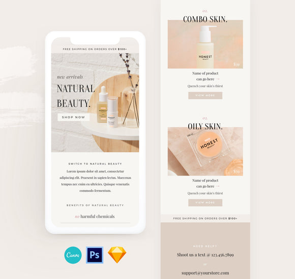 newsletter email template for skincare brands for mailchimp