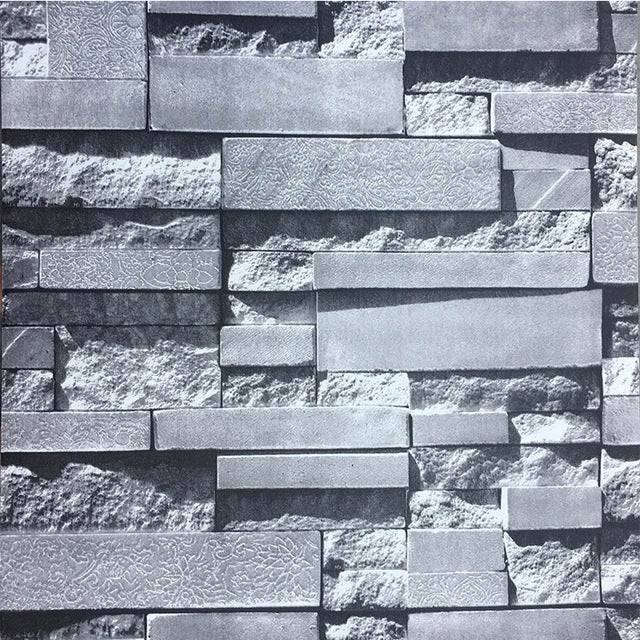 Slate Stone Wall Printed Wallpaper Stone Brick Wall 3d Effect Vinyl Wa Deluxewallpaper Com