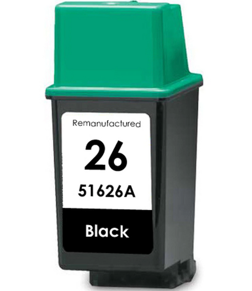 HP 51626A HP (26) Black Remanufactured U.S. Made Ink Cartridge