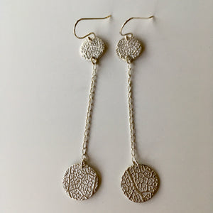 Alison Keenan Silver double disc earrings - 8cm