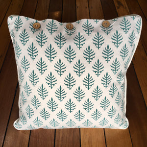 Cushion - Teal frond motif