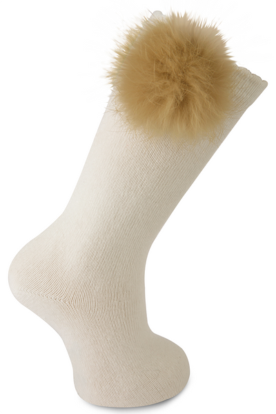 Fur Pompom Knee High Sock