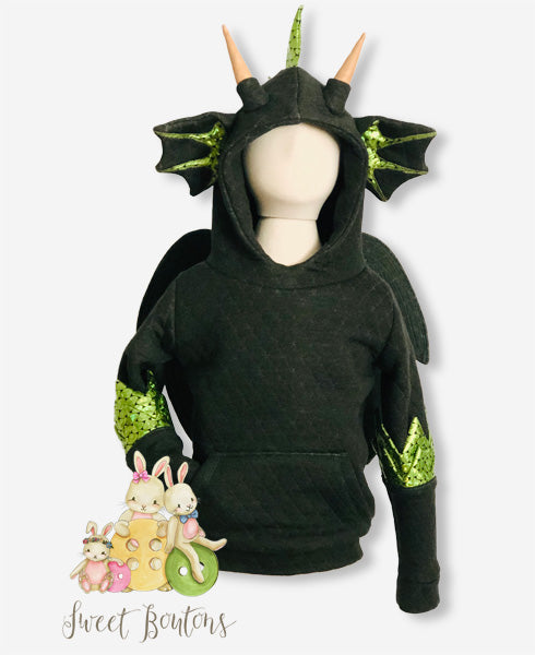 Children's Dragon Hoodie with Sparkly Spikes