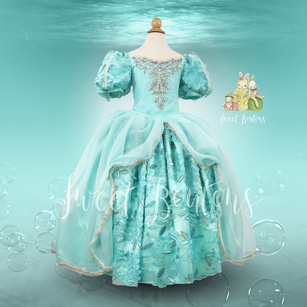 Ariel Little Mermaid Green Couture Gown
