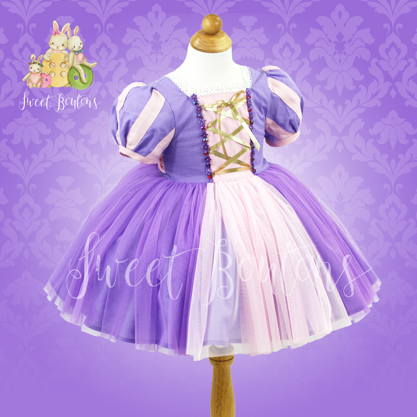 Rapunzel Short Puff Sleeves Cotton Dress