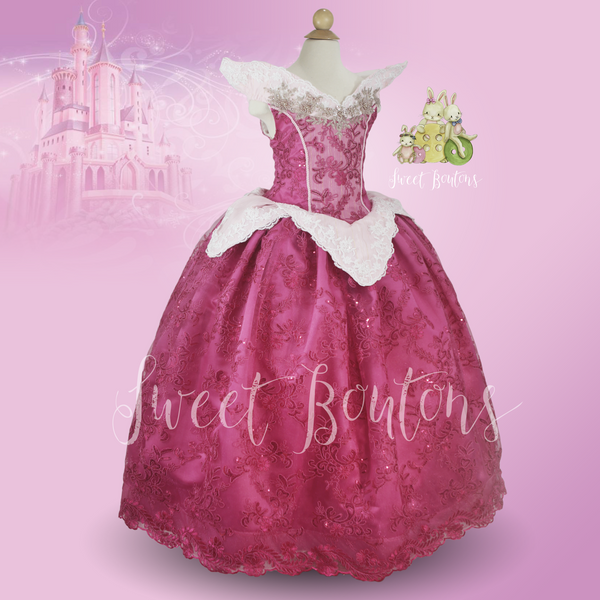 Aurora Sleeping Beauty Pink Lace gown