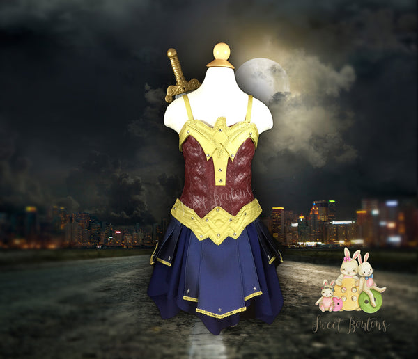 Melly -- wonder woman inspired corset top and skirt