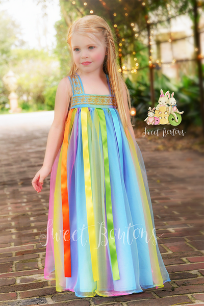 AllyGrace Rainbow Maxi dress with Ribbon