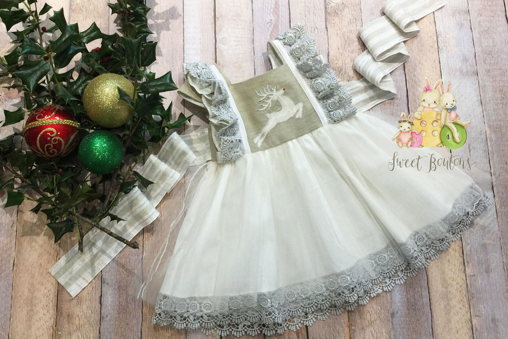 Reindeer Tulle Dress Size 3/4