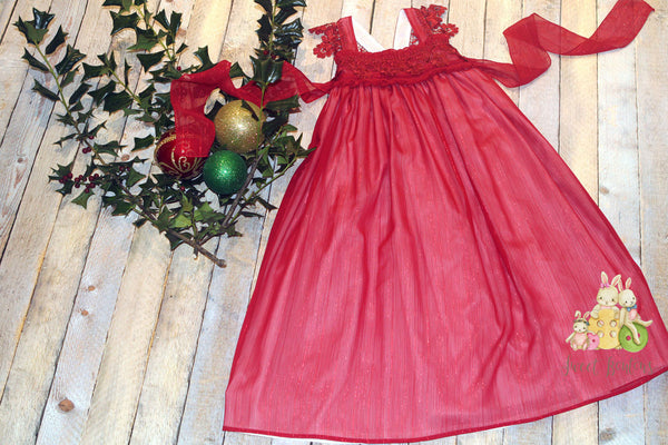 Red Maxi Holiday Dress Size 6y