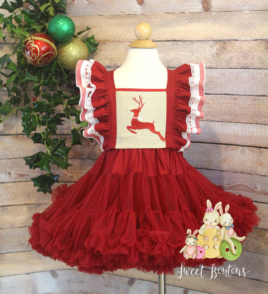 Reindeer Pinafore Tutu Dress Size 2/3