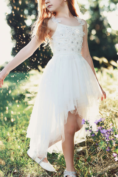 Celia Ivory high-Low tulle dress