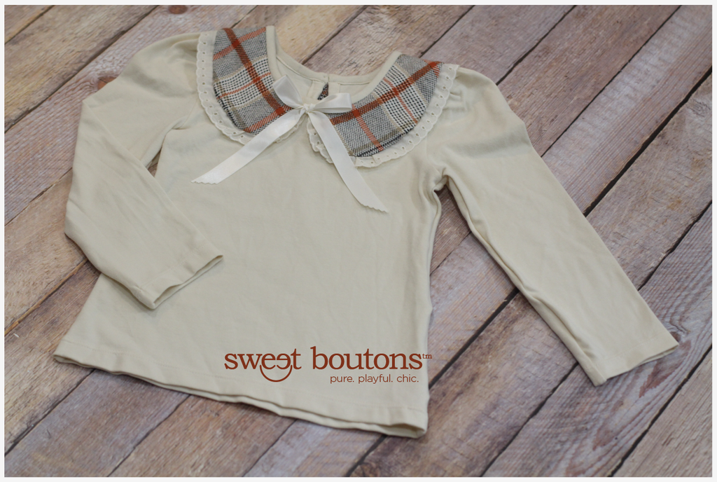 Ivory long sleeves with plaid peter pan collar