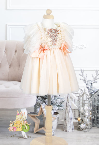 Sparkly Ivory/Rose Princess Dress