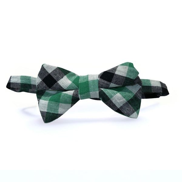 Boys Classic Gingham Bow Tie - Green