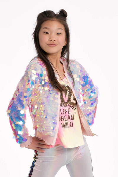 Little Girls Holographic Sequin Bomber Jacket