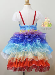 .Colorful Rainbow Dress and Train
