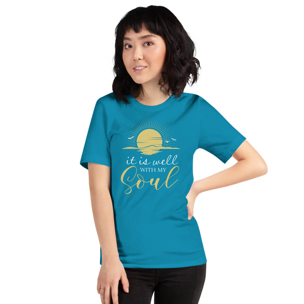 It Is Well With My Soul Womens Tshirt Aqua Blue - Path Made Clear