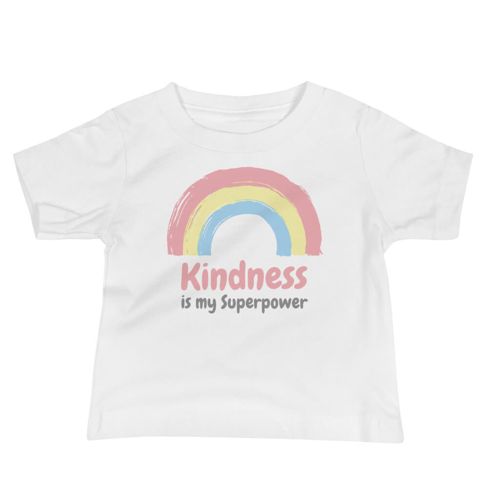 Kindness Is My Superpower Baby T-Shirt White - Path Made Clear