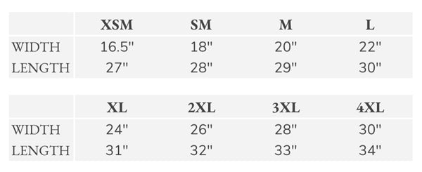 Womens Sizing Chart - Path Made Clear