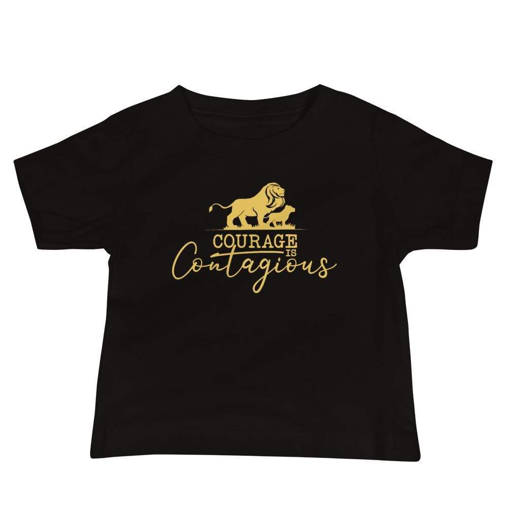 Courage Lion Baby T-Shirt Black - Path Made Clear
